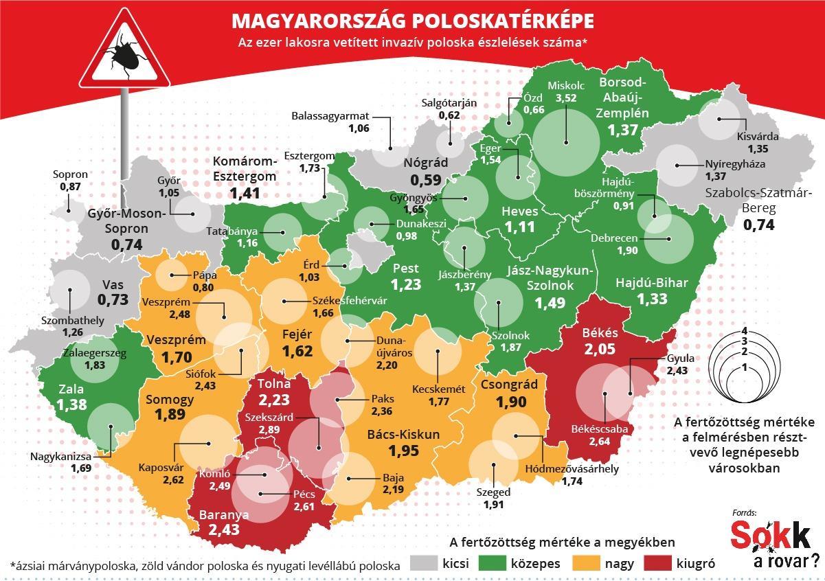 poloskatérkép Magyarország